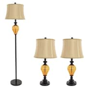 Lavish Home Table Lamps and Floor Lamp Set of 3, Amber Glass (3 LED Bulbs included)