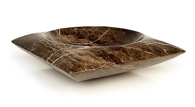 D'Vontz Natural Stone Sinks Stone Square Vessel Bathroom Sink; Dark Emperadore Marble