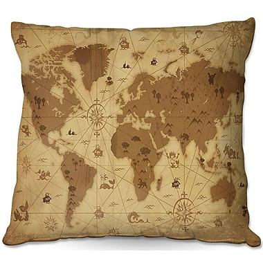 DiaNocheDesigns Whimsical World Map I Throw Pillow; 22'' H x 22'' W x 5'' D