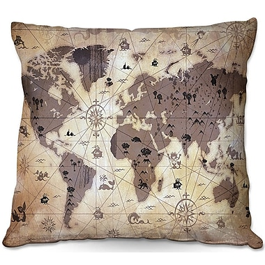DiaNocheDesigns Whimsical World Map V Throw Pillow; 18'' H x 18'' W x 5'' D