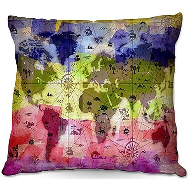 DiaNocheDesigns Whimsical World Map VI Throw Pillow; 20'' H x 20'' W x 5'' D