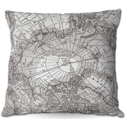 DiaNocheDesigns Arctic Map Throw Pillow; 16'' H x 16'' W x 4'' D