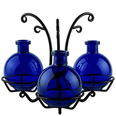 Couronne 3 Ball Recycled Glass Table Vase; Cobalt Blue
