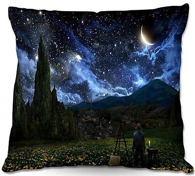 DiaNocheDesigns Starry Night Throw Pillow; 16'' H x 16'' W x 4'' D