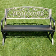 Belleze Outdoor Metal Park Bench; Bronze