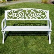 Belleze Outdoor Metal Park Bench; White