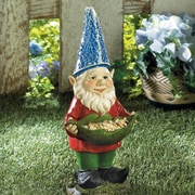 Zingz & Thingz Bird Feeder Gnome Solar Statue