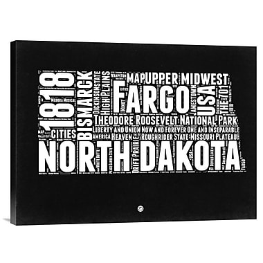 Naxart 'North Dakota Map' Textual Art on Wrapped Canvas; 18'' H x 24'' W x 1.5'' D