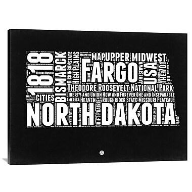 Naxart 'North Dakota Map' Textual Art on Wrapped Canvas; 30'' H x 40'' W x 1.5'' D
