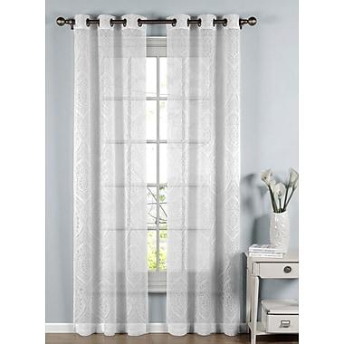 Window Elements Elena Damask Sheer Curtain Panels (Set of 2); White