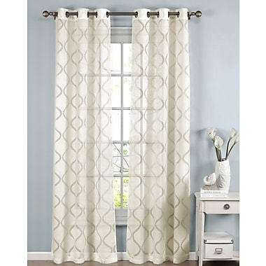 Window Elements Lisse Geometric Sheer Curtain Panels (Set of 2); Ivory