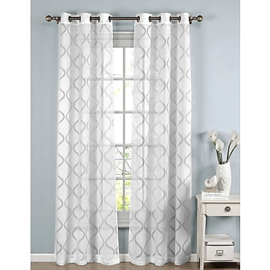 Window Elements Lisse Geometric Sheer Curtain Panels (Set of 2); White