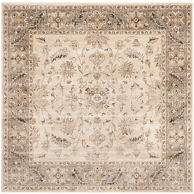 Charlton Home Pittsboro Stone & Mouse Oriental Area Rug; Square 6'