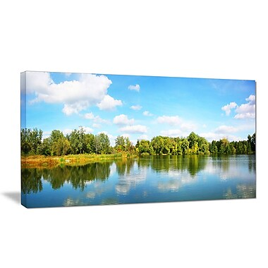 DesignArt 'Spring Lake Panorama' Photographic Print on Wrapped Canvas; 12'' H x 20'' W x 1'' D