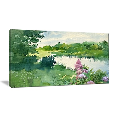 DesignArt 'Green Riverside Land Watercolor' Photographic Print on Wrapped Canvas