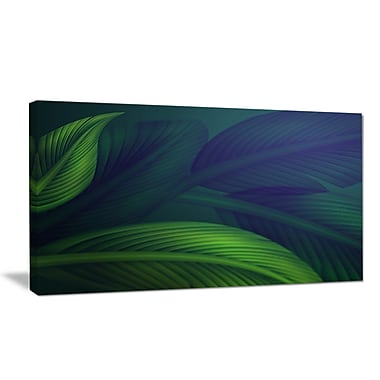 DesignArt 'Tropic Jungle Leaves Background' Oil Painting Print on Wrapped Canvas