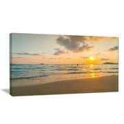 DesignArt Designart 'Stylish Blur Sunset over the Sea' Seashore Wall Art on Canvas