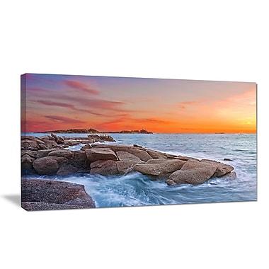 DesignArt Designart 'Colorful Sunset at Rocky Seaside' Seashore Wall Art on Canvas