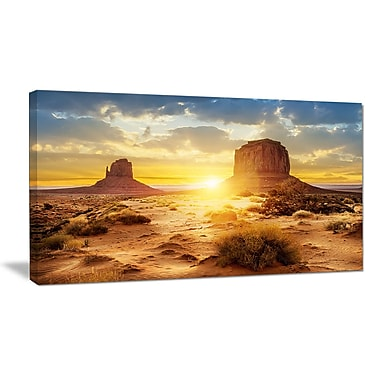 DesignArt Designart 'Monument Valley at Sunset' Landscape Wall Artwork on Canvas