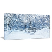 DesignArt Designart 'City Covered w/ Snow' Landscape Wall Artwork on Canvas; 16'' H x 32'' W x 1'' D