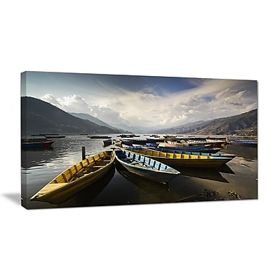 DesignArt 'Pokhara Lakeside Boats' Photographic Print on Wrapped Canvas; 12'' H x 20'' W x 1'' D