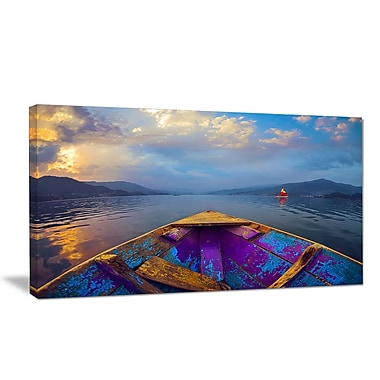 DesignArt 'Boat in Himalaya Mountains Lake' Photographic Print on Wrapped Canvas