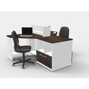 TeamCENTERoffice Triangular Corner 5 Piece L-Shaped Desk Office Suite
