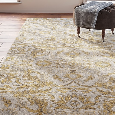 Charlton Home Sagebrush Ivory/Gold Area Rug; Rectangle 4' x 6'