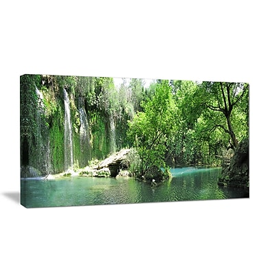 DesignArt 'Waterfall Cascade in Deep Forest' Photographic Print on Wrapped Canvas