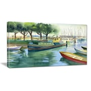 DesignArt 'Boats in River Watercolor' Photographic Print on Wrapped Canvas; 16'' H x 32'' W x 1'' D