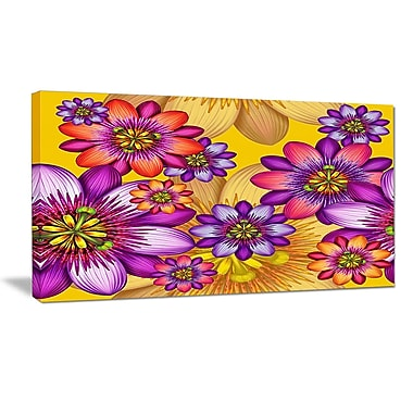 DesignArt 'Passion Flowers Pattern' Oil Painting Print on Wrapped Canvas; 12'' H x 20'' W x 1'' D