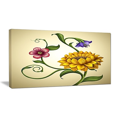 DesignArt 'Flowers and Leaves Illustration' Oil Painting Print on Wrapped Canvas