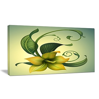 DesignArt 'Yellow Fantasy Flower' Oil Painting Print on Wrapped Canvas; 16'' H x 32'' W x 1'' D