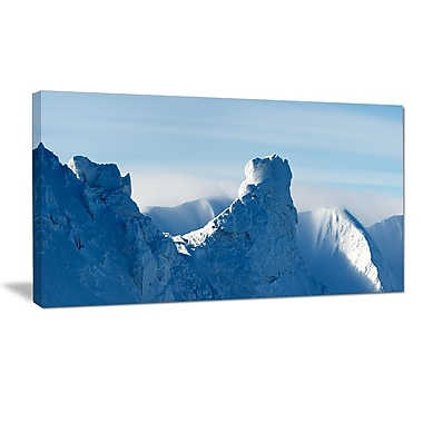 DesignArt 'Blue Winter Hills Panorama' Photographic Print on Wrapped Canvas; 12'' H x 20'' W x 1'' D