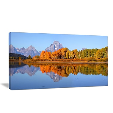DesignArt 'Grand Tetons Panorama' Photographic Print on Wrapped Canvas; 12'' H x 20'' W x 1'' D