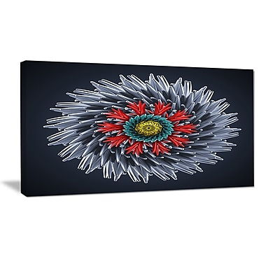 DesignArt 'Abstract Silver 3D Flower' Graphic Art Print on Wrapped Canvas; 12'' H x 20'' W x 1'' D