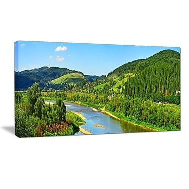 DesignArt 'Green Mountains and River ' Photographic Print on Wrapped Canvas; 30'' H x 40'' W x 1'' D