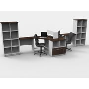 TeamCENTERoffice Compact Space Maximum Collaboration 8 Piece L-Shape Desk Office Suite