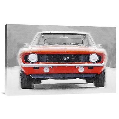 Naxart '1968 Chevy Camaro SS Watercolor' Painting Print on Wrapped Canvas; 16'' H x 24'' W x 1.5'' D
