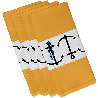 Breakwater Bay Hancock Anchor Stripe Print Napkin (Set of 4); Yellow