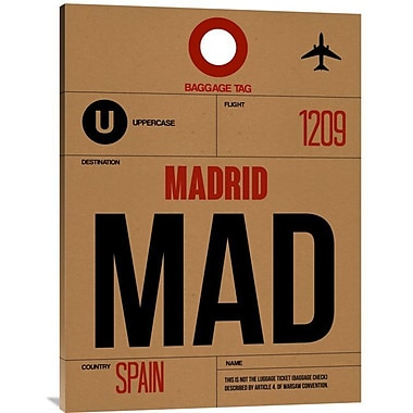 Naxart 'MAD Madrid Luggage Tag 2' Graphic Art on Wrapped Canvas; 40'' H x 30'' W x 1.5'' D