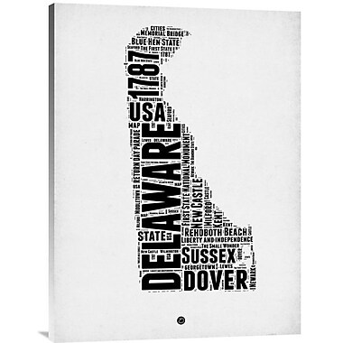 Naxart 'Delaware Word Cloud 2' Textual Art on Wrapped Canvas; 32'' H x 24'' W x 1.5'' D