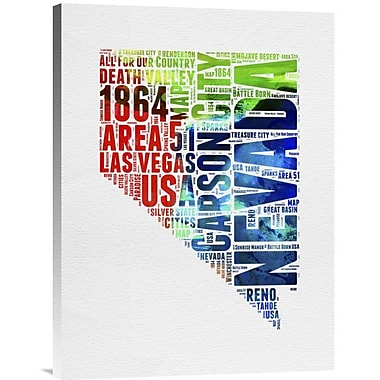 Naxart 'Nevada Watercolor Word Cloud' Textual Art on Wrapped Canvas; 24'' H x 18'' W x 1.5'' D