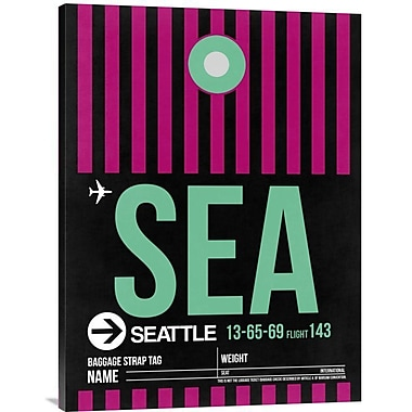 Naxart 'SEA Seattle Luggage Tag 2' Graphic Art on Wrapped Canvas; 32'' H x 24'' W x 1.5'' D