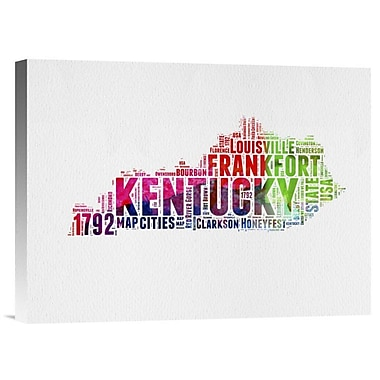 Naxart 'Kentucky Watercolor Word Cloud' Textual Art on Wrapped Canvas; 12'' H x 16'' W x 1.5'' D