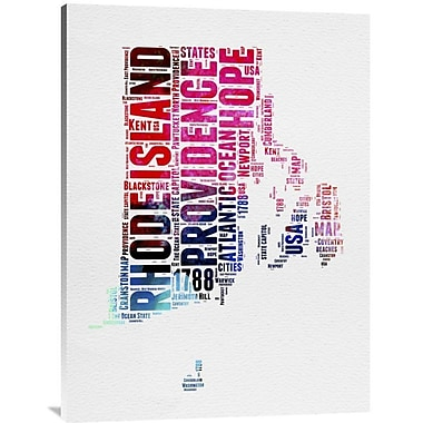 Naxart 'Rhode Island Watercolor Word Cloud' Textual Art on Wrapped Canvas; 40'' H x 30'' W x 1.5'' D