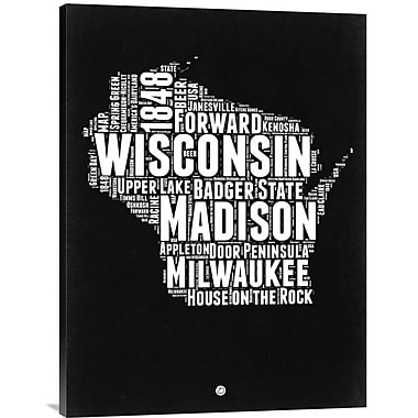 Naxart 'Wisconsin Black and White Map' Textual Art on Wrapped Canvas; 32'' H x 24'' W x 1.5'' D
