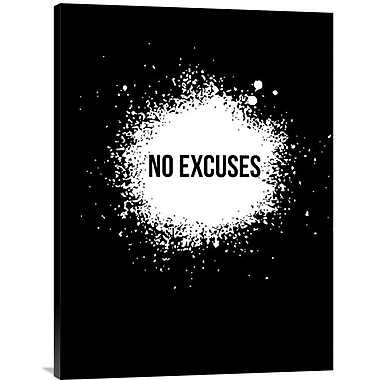 Naxart 'No Excuses Poster' Textual Art on Wrapped Canvas; 32'' H x 24'' W x 1.5'' D