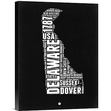 Naxart 'Delaware Map' Textual Art on Wrapped Canvas; 16'' H x 12'' W x 1.5'' D