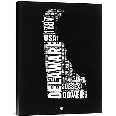 Naxart 'Delaware Map' Textual Art on Wrapped Canvas; 24'' H x 18'' W x 1.5'' D